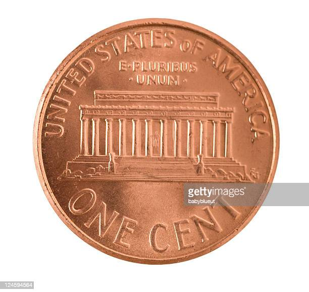 penny series with clipping path - us penny stock pictures, royalty-free photos & images