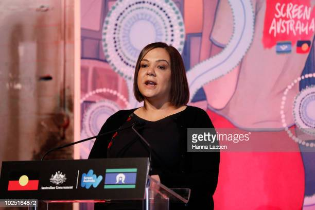 Penny Smallacombe speaks at a media call of the 25th Anniversary of Screen Australia's Indigenous Department at Carriageworks on August 30 2018 in...