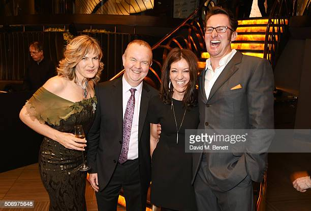 Penny Smith Ian Hislop Victoria Hislop and Vince Leigh attend the Costa Book Of The Year Awards at Quaglino's on January 26 2016 in London England