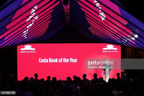 Penny Smith presenting on stage at the Costa Book Awards at Quaglino's on January 30 2018 in London England