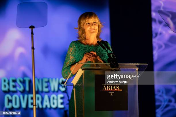 Penny Smith presents an award at the Audio and Radio Industry Awards at First Direct Arena Leeds on October 18 2018 in Leeds England
