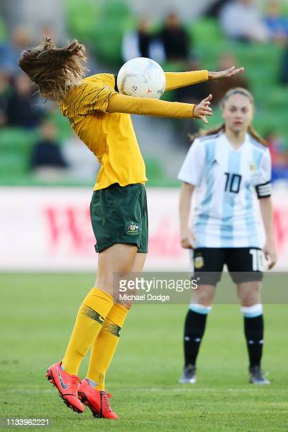 Penny Squibb of Australia controls the ball during the Cup of Nations match between Australia and Argentina at AAMI Park on March 06 2019 in...