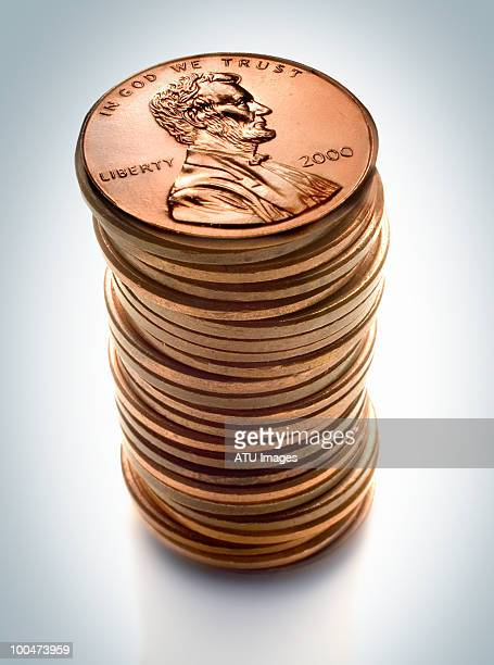 penny stack - us penny stock pictures, royalty-free photos & images