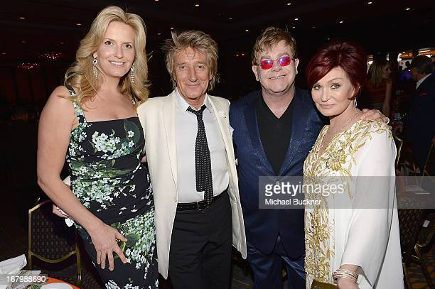 Penny Stewart musician Rod Stewart musician Elton John and TV Personality Sharon Osbourne attend the 20th Annual Race To Erase MS Gala Love To Erase...