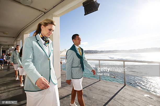 Penny Taylor and Jamie Dwyer take part in the Australian Olympic Games Opening Ceremony Uniform Official Launch at Bondi Icebergs on March 30, 2016...