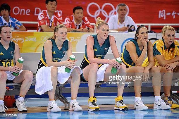 Penny Taylor and Lauren Jackson of Australia sit on the bench against Belarus preliminary women's basketball game at the Beijing Olympic Basketball...