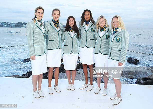 Penny Taylor Louise Bawden Charlotte Caslick Taliqua Clancy Annette Edmondson and Kaarle McCulloch pose in their Australian opening ceremony uniforms...