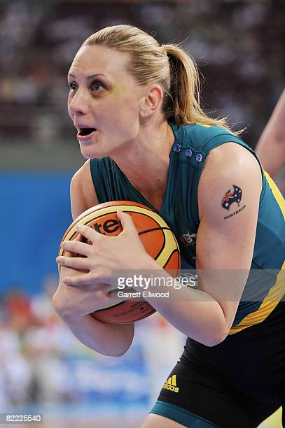 Penny Taylor of Australia against Belarus during the preliminary women's basketball game at the Beijing Olympic Basketball Gymnasium during day 1 of...