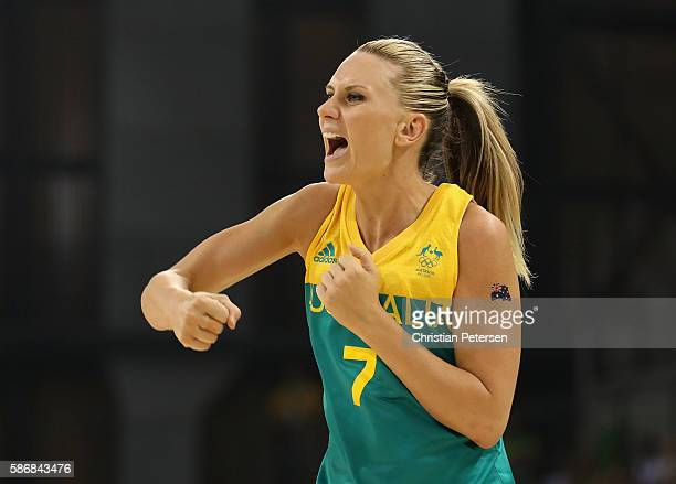 Penny Taylor of Australia reacts after scoring against Brazil during a Women's Basketball Preliminary Round game on Day 1 of the Rio 2016 Olympic...