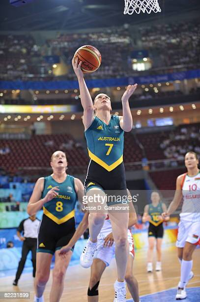 Penny Taylor of Australia shoots against Belarus during day one of basketball at the 2008 Beijing Summer Olympics on August 9, 2008 at the Wukesong...