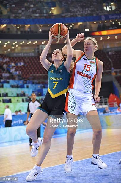 Penny Taylor of Australia shoots against Marina Kress of Belarus during day one of basketball at the 2008 Beijing Summer Olympics on August 9 2008 at...