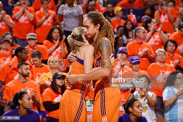 Penny Taylor of the Phoenix Mercury hugs Brittney Griner of the Phoenix Mercury during the game against the Minnesota Lynx in Game Three of the...