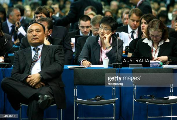 Penny Wong Australia's minister for climate change and water center listens in the main plenary hall where international discussions take place at...