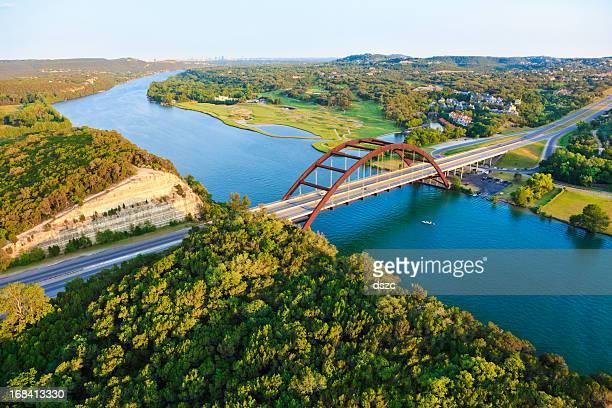pennybacker 360 bridge, colorado river, austin texas, aerial panorama - austin texas stock pictures, royalty-free photos & images