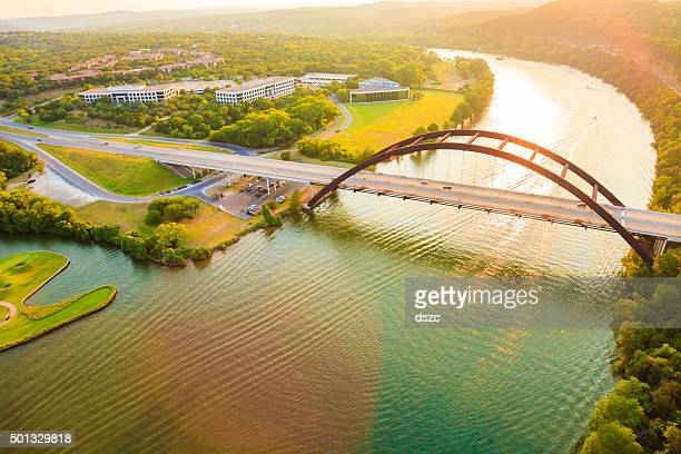 pennybacker 360 bridge, colorado river, austin texas, aerial panorama - texas stock pictures, royalty-free photos & images