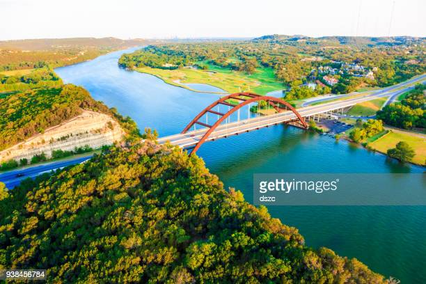 pennybacker 360 bridge, colorado river, austin texas, aerial panorama - austin texas stock pictures, royalty-free photos & images