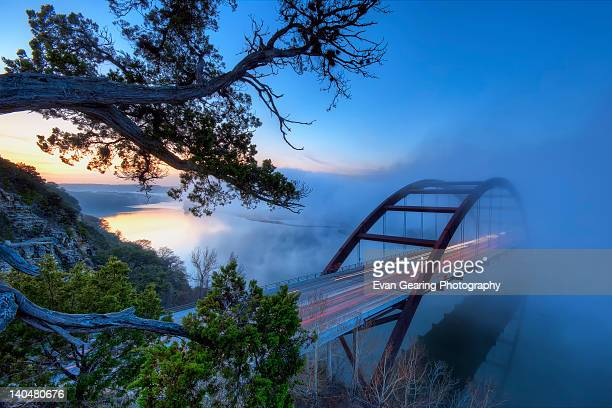 Pennybacker bridge in morning fog