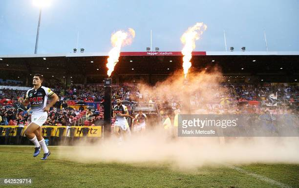 Penrith players run out for the the NRL Trial match between the Penrith Panthers and Parramatta Eels at Pepper Stadium on February 18 2017 in Sydney...