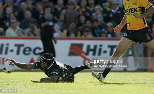 Penrith's Preston Campbell scores a try during the Round 5 NRL rugby league match between the Parramatta Eels and Penrith Panthers at Parramatta...
