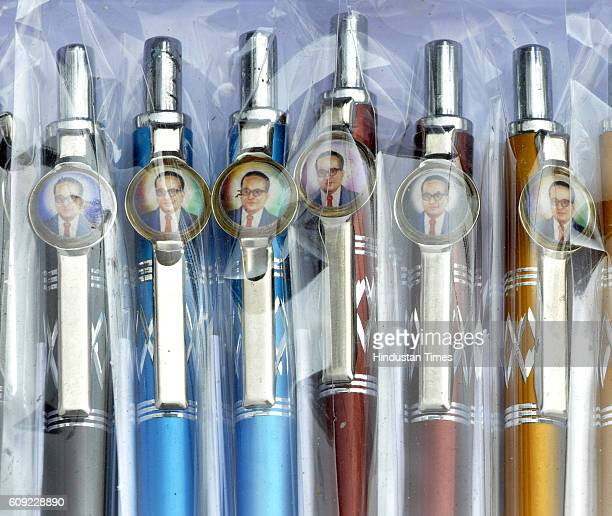 Pens with image of dalit icon Ambedkar sold at BSP rally as preparations for Uttar Pradesh Assembly Elections 2017 on September 20 2016 in Noida India