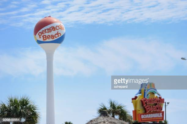 pensacola beach ball water tower in florida - pensacola beach stock pictures, royalty-free photos & images