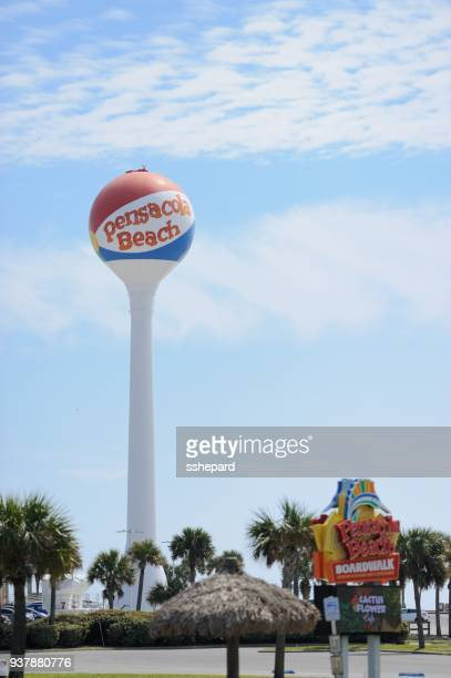 pensacola beach ball water tower with sign - pensacola beach stock pictures, royalty-free photos & images
