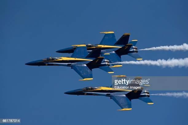 Pensacola Florida USA, Blue Angels FA 18 Hornet jets in flight over their Pensacola base.