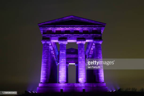Penshaw Monument near Sunderland is bathed in purple light to commemorate Holocaust Memorial Day on January 27, 2021 in Sunderland, England....