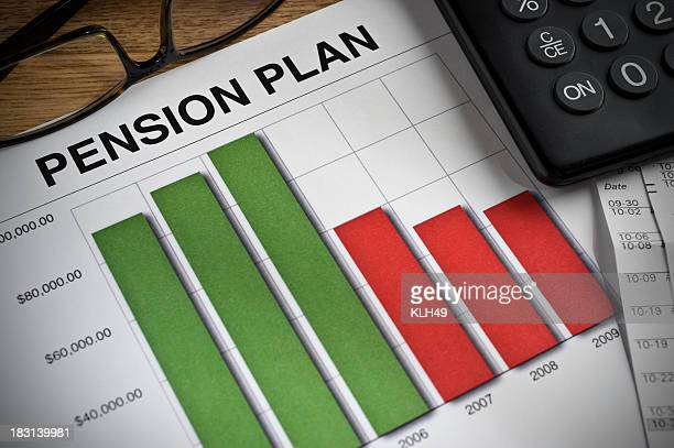 Pension Plan printed bar graph on a desk.