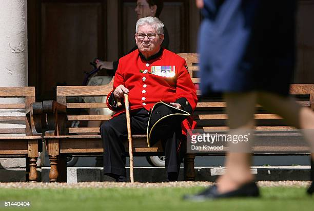 Pensioner sits during the Founders Day Parade at Chelsea Royal Hospital, on June 5, 2008 in London, England. The hospital, a home for British army...