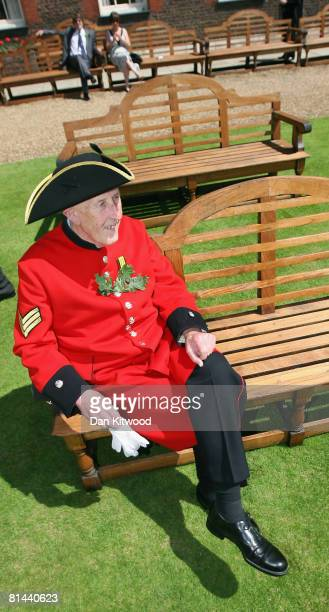 Pensioner sits during the Founders Day Parade at Chelsea Royal Hospital on June 5, 2008 in London, England. The hospital, a home for British army...