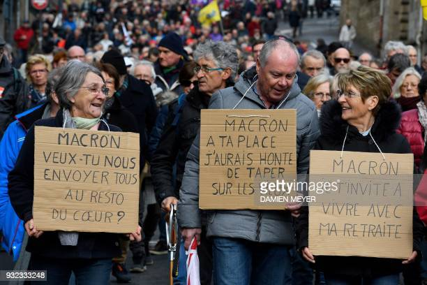 Pensioners demonstrate along with striking EHPAD employees on March 15 2018 in Rennes as part of a nationwide movement of retired workers to protest...