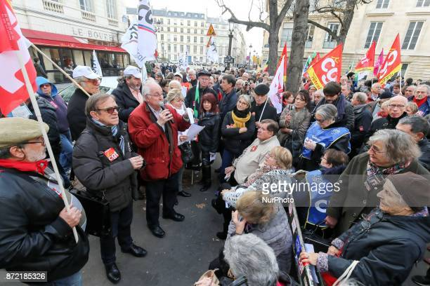 Pensioners demonstrate in front of the National Assembly in Paris on November 9 2017 for better pensions and the adjustment of their purchasing power...