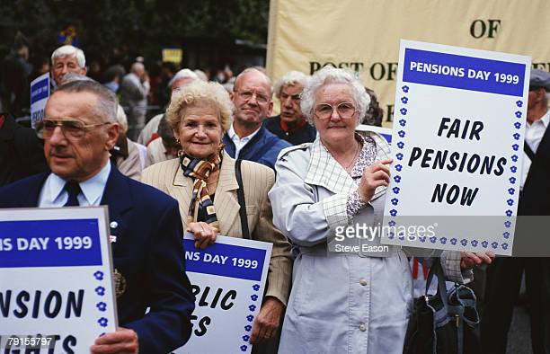 Pensioners demonstrating for rights in London, on Pensions Day, 8th September 1999.