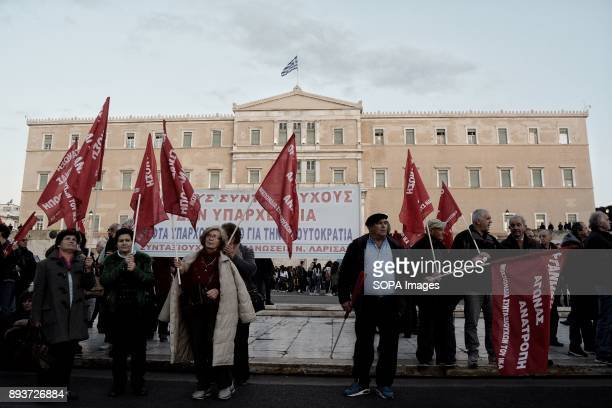 Pensioners hold banner during the protest of pensioners at Syntagma Square They are protesting to the government of pension cuts and austerity...