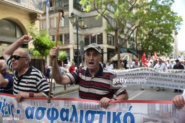 Pensioners march protesting over fear of further pension cuts in central Athens Greece 19 June 2018