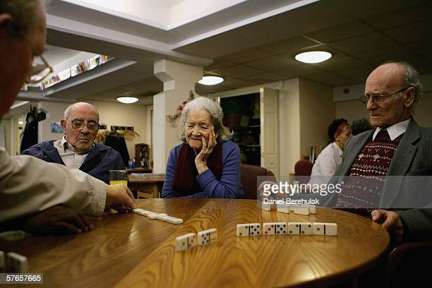 Pensioners play a game of dominoes on May 19 2006 in London England A deal on pensions has been agreed between Prime Minister Tony Blair and...