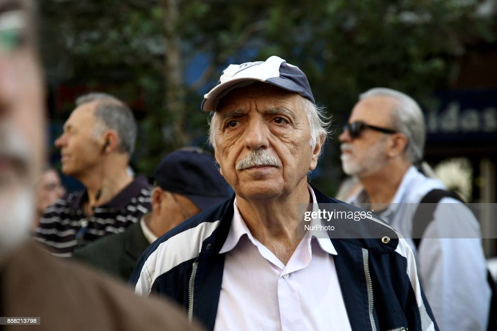 Pensioners protest against new pension cuts, outside the Counsel of State, the Supreme Administrative Court of Greece, in Athes on October 6, 2017