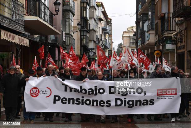 Pensioners protesting demanding government to raise pensions in Soria in north Spain