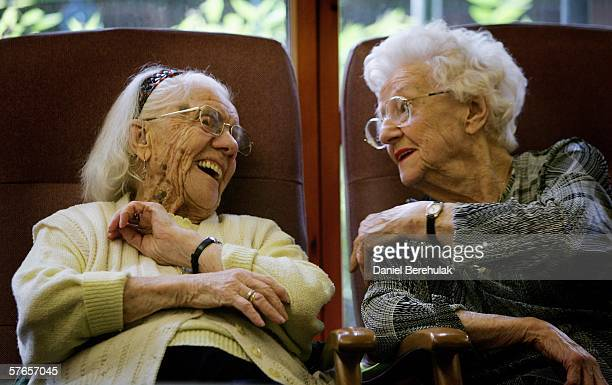 Pensioners share a laugh as they reminisce whilst watching a birthday video on May 19 2006 in London England A deal on pensions has been agreed...