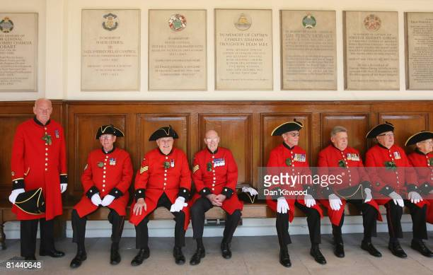 Pensioners sit during the Founders Day Parade at Chelsea Royal Hospital, on June 5, 2008 in London, England. The hospital, a home for British army...