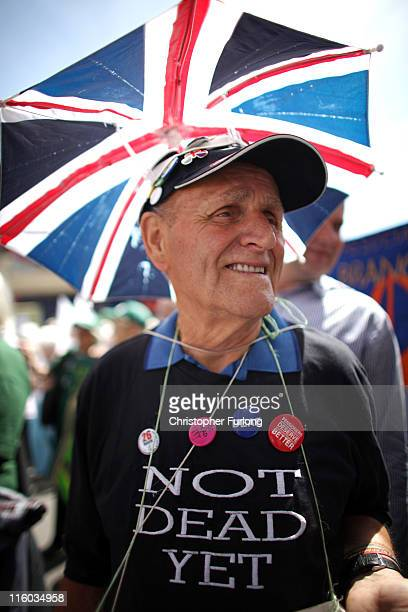 Pensioners take part in a march through Blackpool to attend their annual Pensioners Parliament at The Winter Gardens on June 14 2011 in Blackpool...