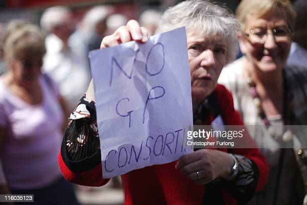 Pensioners take part in a march through Blackpool to attend their annual Pensioners Parliament at The Winter Gardens on June 14, 2011 in Blackpool,...
