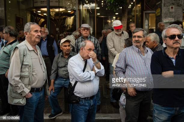 TOPSHOT Pensioners take part in demonstration outside the Ministry of Finance against planned pension reforms in central Athens on April 25 2018