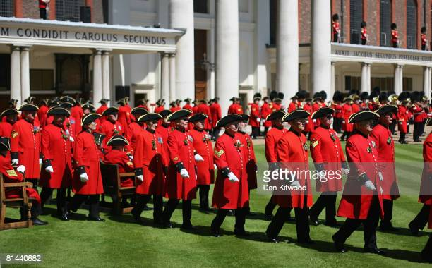 Pensioners take part in the Founders Day Parade at Chelsea Royal Hospital, on June 5, 2008 in London, England. The hospital, a home for British army...