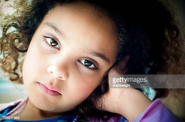 pensive 6 years old little girl - 6 7 years stock pictures, royalty-free photos & images