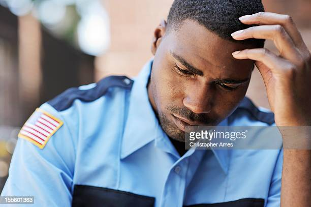 Pensive American Security Officer
