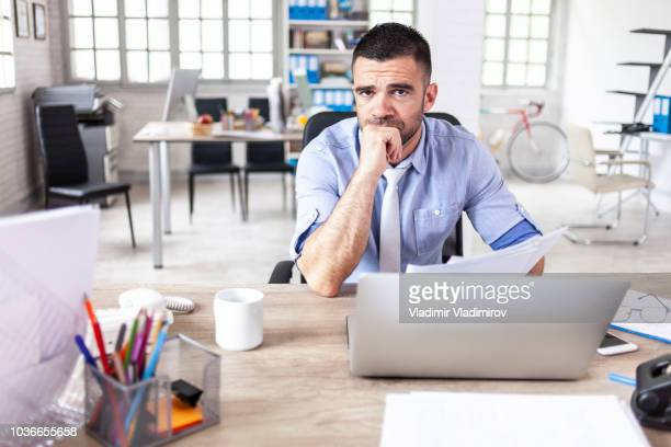 pensive businessman - stock trader upset stock pictures, royalty-free photos & images