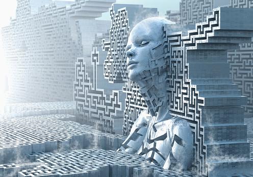 Pensive female likeness emerging from maze wall - gettyimageskorea