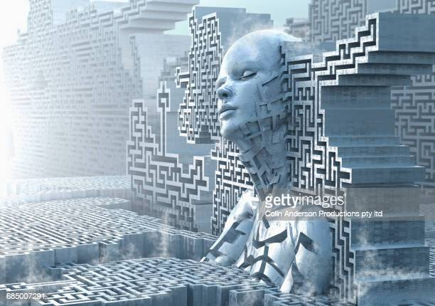 pensive female likeness emerging from maze wall - appearance stock photos and pictures